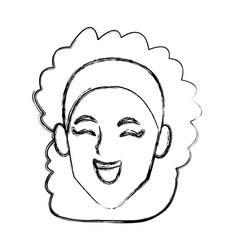 woman face smiling cartoon vector image