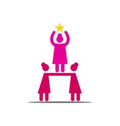 Woman power teamwork logo icon symbol isolated vector