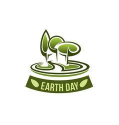 Earth day icon for green nature environment vector