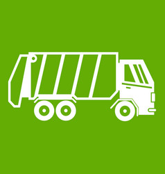 garbage truck icon green vector image