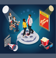 Isometric cinematography composition vector