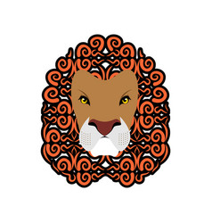 lion abstract emblem mane ornament leo tattoo vector image