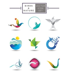 Nature themed emblem collection vector image vector image