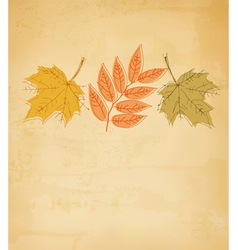 Retro autumn background with colorful leaves vector image vector image