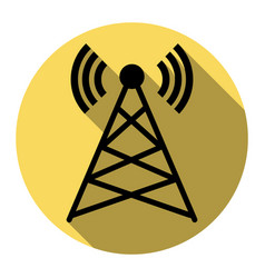 antenna sign flat black icon vector image vector image