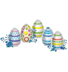 Easter eggs and flowers vector image vector image