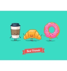 funny cartoon Funny coffee croissant vector image vector image
