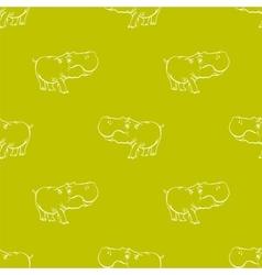 Hippopotamus Seamless Drawing Pattern vector image