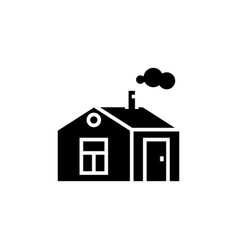 house simple with chimney icon vector image