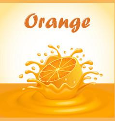 a splash of fruit orange juice vector image vector image