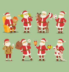christmas santa claus character different vector image