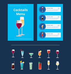 cocktail menu advertisement poster with prices vector image vector image