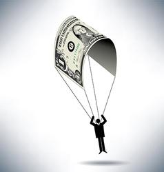 Dollar man parachute vector