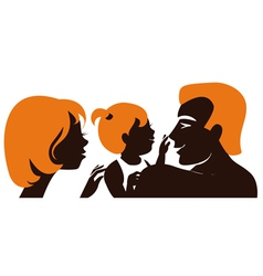 Family Silhouette of parents with baby vector image vector image
