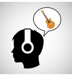 head silhouette listening music guitar vector image