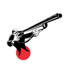 hunter aiming shotgun rifle vector image