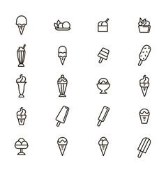 ice cream signs black thin line icon set vector image