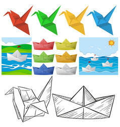 origami craft with bird and boat vector image vector image