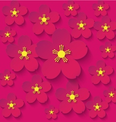 paper flowers burgundy background vector image vector image