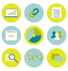 SEO flat icons set Search optimization web vector image vector image