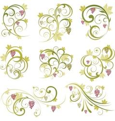 set of wine grapes design elements vector image vector image