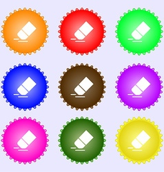 Eraser rubber icon sign big set of colorful vector