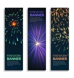 Fireworks vertical banners set vector image