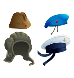 Set Military Army headdress Russian military vector image