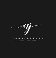 Aj initial letter handwriting logo hand drawn vector