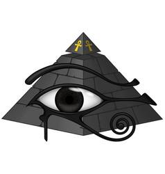 Ancient egyptian pyramid with 3d eye horus vector
