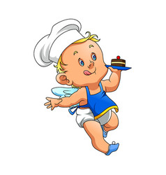 Angle baby with chef hat and holding vector
