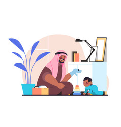 Arab father playing with little son at home vector