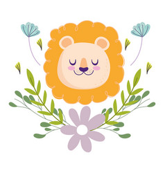 baby shower cute lion head flowers foliage vector image