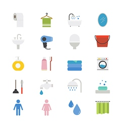 Bathroom and Toilet Flat Icons color vector