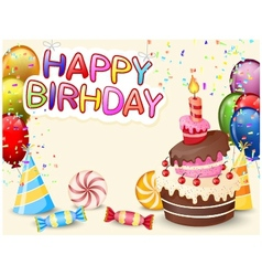 Birthday background with birthday cake vector