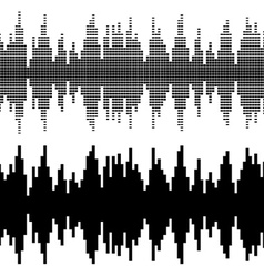 Black square sound wave patterns vector