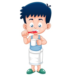 Boy brushing his teeth vector image