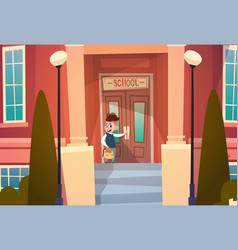 Boy opening school door pupil go to classroom in vector