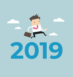 businessman jump over number 2019 vector image