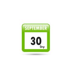 calendar icon 30 days in september vector image
