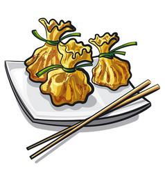 chinese steamed dumplings vector image