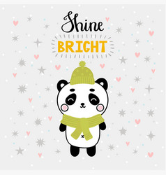 Christmas card with cute little panda funny vector