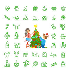 christmas tree decoration and isolated icons set vector image