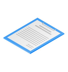 Clipboard paper icon isometric style vector
