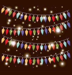 colors christmas lights hanging decoration vector image