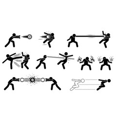 comic characters special powerful attack these vector image