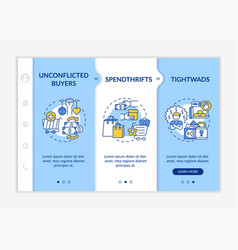 Customers types onboarding template vector