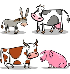 Cute cartoon farm animals set vector