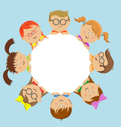 Cute kids friends around the white circle vector
