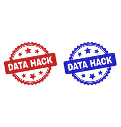 Data hack rosette stamp seals with grunged texture vector